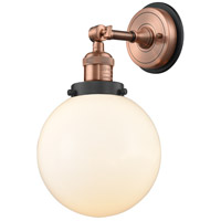Innovations Lighting 203BP-ACBK-G201-8 Large Beacon 1 Light 8 inch Antique Copper Sconce Wall Light