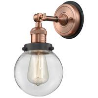 Innovations Lighting 203BP-ACBK-G202-6 Beacon 1 Light 6 inch Antique Copper Sconce Wall Light
