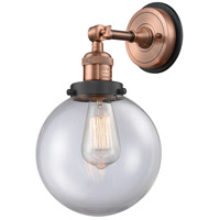 Innovations Lighting 203BP-ACBK-G202-8 Large Beacon 1 Light 8 inch Antique Copper Sconce Wall Light