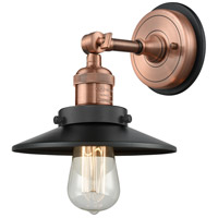 Innovations Lighting 203BP-ACBK-M6-BK Railroad 1 Light 8 inch Antique Copper Sconce Wall Light