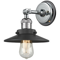 Innovations Lighting 203BP-PCBK-M6-BK Railroad 1 Light 8 inch Polished Chrome Sconce Wall Light