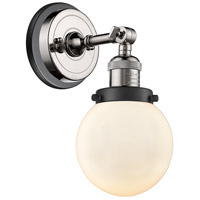 Innovations Lighting 203BP-PNBK-G201-6 Beacon 1 Light 6 inch Polished Nickel Sconce Wall Light