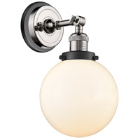 Innovations Lighting 203BP-PNBK-G201-8 Large Beacon 1 Light 8 inch Polished Nickel Sconce Wall Light