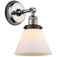 Innovations Lighting 203BP-PNBK-G41 Large Cone 1 Light 8 inch Polished Nickel Sconce Wall Light