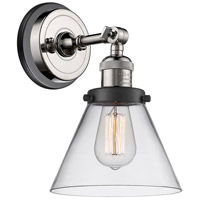 Innovations Lighting 203BP-PNBK-G42 Large Cone 1 Light 8 inch Polished Nickel Sconce Wall Light