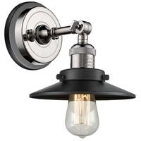 Innovations Lighting 203BP-PNBK-M6-BK Railroad 1 Light 8 inch Polished Nickel Sconce Wall Light