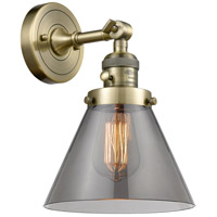 Large Cone LED 8 inch Antique Brass Wall Sconce Wall Light