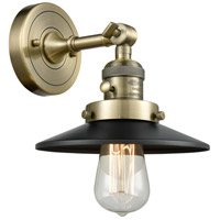 Innovations Lighting 203SW-AB-M6 Railroad 1 Light 8 inch Antique Brass Sconce Wall Light, Franklin Restoration photo thumbnail