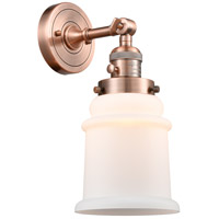 Innovations Lighting 203SW-AC-G181-LED Canton LED 7 inch Antique Copper Sconce Wall Light Franklin Restoration
