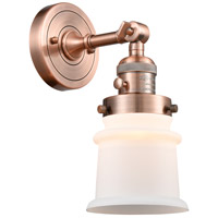 Innovations Lighting 203SW-AC-G181S-LED Small Canton LED 7 inch Antique Copper Sconce Wall Light Franklin Restoration