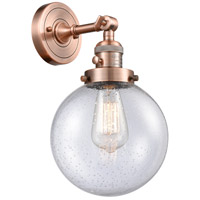 Innovations Lighting 203SW-AC-G204-8 Beacon 1 Light 8 inch Antique Copper Wall Sconce Wall Light