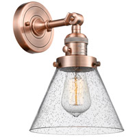 Innovations Lighting 203SW-AC-G44-LED Large Cone LED 8 inch Antique Copper Wall Sconce Wall Light