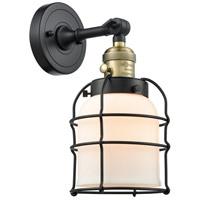 Innovations Lighting 203SW-BAB-G51-CE Small Bell Cage 1 Light 6 inch Black Antique Brass Sconce Wall Light Franklin Restoration