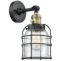 Innovations Lighting 203SW-BAB-G52-CE Small Bell Cage 1 Light 6 inch Black Antique Brass Sconce Wall Light Franklin Restoration