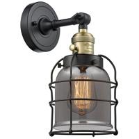 Innovations Lighting 203SW-BAB-G53-CE Small Bell Cage 1 Light 6 inch Black Antique Brass Sconce Wall Light Franklin Restoration