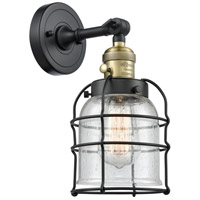 Innovations Lighting 203SW-BAB-G54-CE Small Bell Cage 1 Light 6 inch Black Antique Brass Sconce Wall Light Franklin Restoration