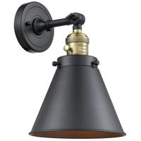Innovations Lighting 203SW-BAB-M13-BK Appalachian 1 Light 8 inch Black Antique Brass Sconce Wall Light Franklin Restoration