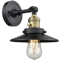 Innovations Lighting 203SW-BAB-M6 Railroad 1 Light 8 inch Black Antique Brass Sconce Wall Light Franklin Restoration