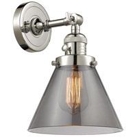 Innovations Lighting 203SW-PN-G43-LED Large Cone LED 8 inch Polished Nickel Wall Sconce Wall Light