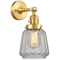 Innovations Lighting 203SW-SG-G142 Chatham 1 Light 6 inch Satin Gold Sconce Wall Light Franklin Restoration