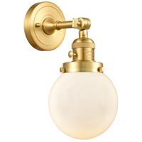 Innovations Lighting 203SW-SG-G201-6 Beacon 1 Light 6 inch Satin Gold Sconce Wall Light