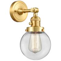 Innovations Lighting 203SW-SG-G202-6 Beacon 1 Light 6 inch Satin Gold Sconce Wall Light