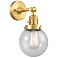 Innovations Lighting 203SW-SG-G204-6 Beacon 1 Light 6 inch Satin Gold Sconce Wall Light