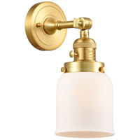 Innovations Lighting 203SW-SG-G51 Small Bell 1 Light 5 inch Satin Gold Sconce Wall Light Franklin Restoration