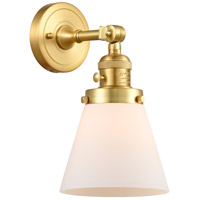 Innovations Lighting 203SW-SG-G61 Small Cone 1 Light 6 inch Satin Gold Sconce Wall Light