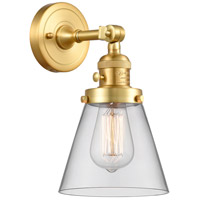 Innovations Lighting 203SW-SG-G62 Small Cone 1 Light 6 inch Satin Gold Sconce Wall Light