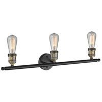 Innovations Lighting 204-BAB Bare Bulb 3 Light 30 inch Black Antique Brass Bathroom Fixture Wall Light alternative photo thumbnail