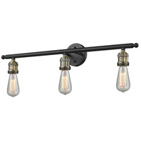 Innovations Lighting 204-BAB Bare Bulb 3 Light 30 inch Black Antique Brass Bath Vanity Light Wall Light Franklin Restoration