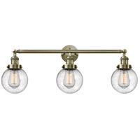 Innovations Lighting 205-AB-G204-6-LED Beacon LED 30 inch Antique Brass Bath Vanity Light Wall Light, Franklin Restoration