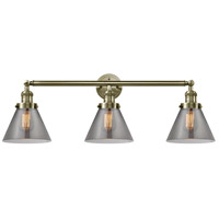 Innovations Lighting 205-AB-G43 Large Cone 3 Light 32 inch Antique Brass Bath Vanity Light Wall Light Franklin Restoration