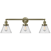 Innovations Lighting 205-AB-G44 Large Cone 3 Light 32 inch Antique Brass Bath Vanity Light Wall Light Franklin Restoration
