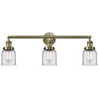 Innovations Lighting 205-AB-G52 Small Bell 3 Light 30 inch Antique Brass Bath Vanity Light Wall Light Franklin Restoration