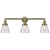 Innovations Lighting 205-AB-G62 Small Cone 3 Light 30 inch Antique Brass Bath Vanity Light Wall Light Franklin Restoration