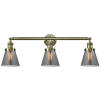 Innovations Lighting 205-AB-G63 Small Cone 3 Light 30 inch Antique Brass Bath Vanity Light Wall Light Franklin Restoration