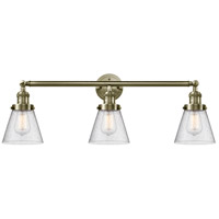 Innovations Lighting 205-AB-G64 Small Cone 3 Light 30 inch Antique Brass Bath Vanity Light Wall Light Franklin Restoration
