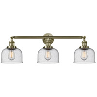 Innovations Lighting 205-AB-G74 Large Bell 3 Light 32 inch Antique Brass Bath Vanity Light Wall Light Franklin Restoration