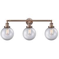 Innovations Lighting 205-AC-G202-8-LED Large Beacon LED 32 inch Antique Copper Bath Vanity Light Wall Light Franklin Restoration