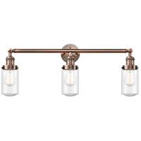 Innovations Lighting 205-AC-G314 Dover 3 Light 31 inch Antique Copper Bath Vanity Light Wall Light Franklin Restoration