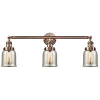 Innovations Lighting 205-AC-G58 Small Bell 3 Light 30 inch Antique Copper Bath Vanity Light Wall Light Franklin Restoration