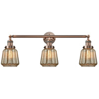 Innovations Lighting 205-AC-S-G146 Chatham 3 Light 30 inch Antique Copper Bathroom Fixture Wall Light Adjustable