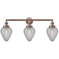 Innovations Lighting 205-AC-S-G165 Geneseo 3 Light 32 inch Antique Copper Bath Vanity Light Wall Light, Franklin Restoration