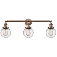 Innovations Lighting 205-AC-S-G204-6-LED Beacon LED 30 inch Antique Copper Bath Vanity Light Wall Light, Franklin Restoration