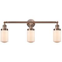Innovations Lighting 205-AC-S-G311 Dover 3 Light 31 inch Antique Copper Bath Vanity Light Wall Light Franklin Restoration