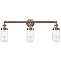 Innovations Lighting 205-AC-S-G312 Dover 3 Light 31 inch Antique Copper Bath Vanity Light Wall Light Franklin Restoration