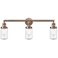 Innovations Lighting 205-AC-S-G314 Dover 3 Light 31 inch Antique Copper Bath Vanity Light Wall Light Franklin Restoration