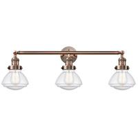 Innovations Lighting 205-AC-S-G324 Olean 3 Light 31 inch Antique Copper Bath Vanity Light Wall Light Franklin Restoration